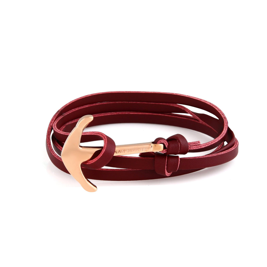 Rose Gold Anchor - Burgundy Leather