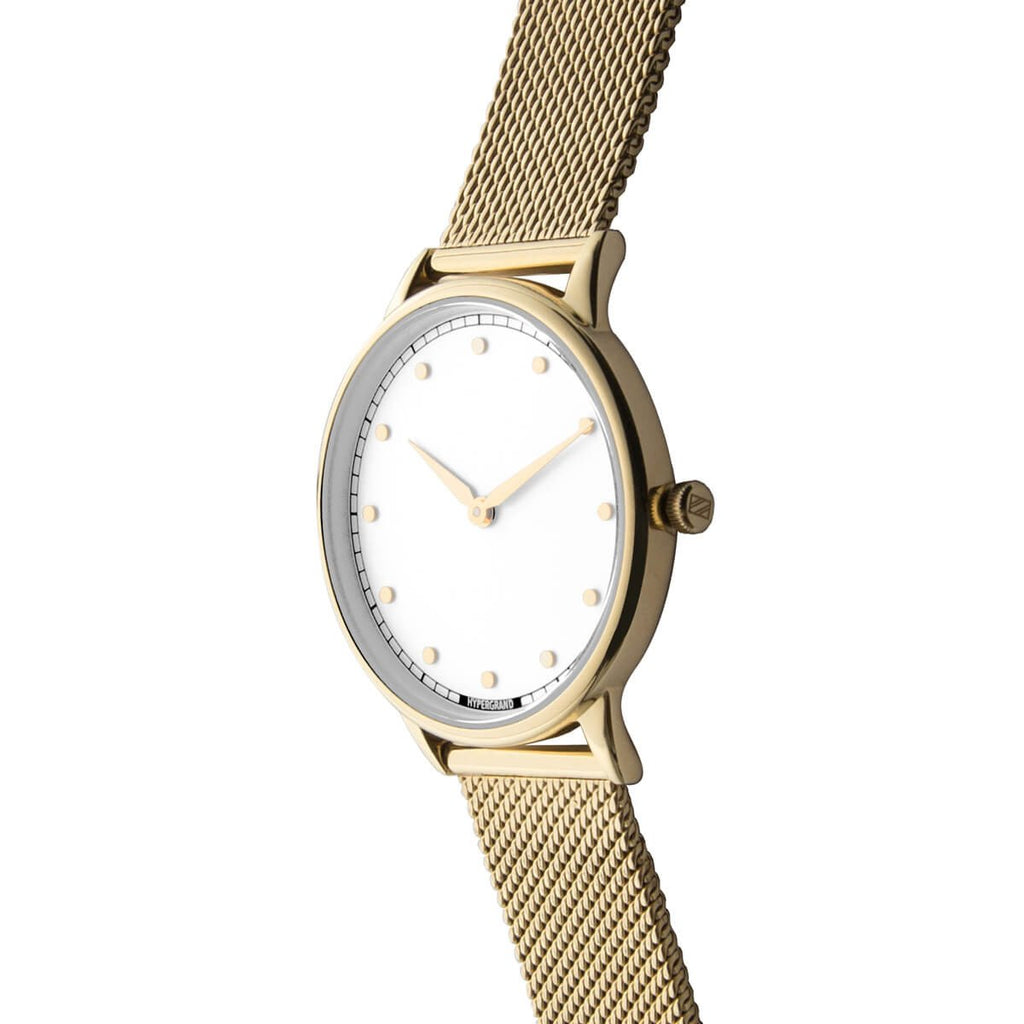 Signature Petite Watch - Gold White w/ Gold Mesh