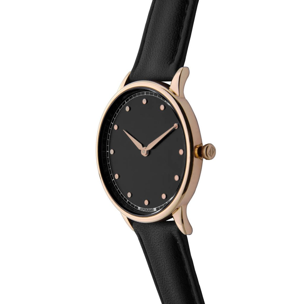 Signature Petite Watch - Rose Gold Black w/ Black Classic Leather