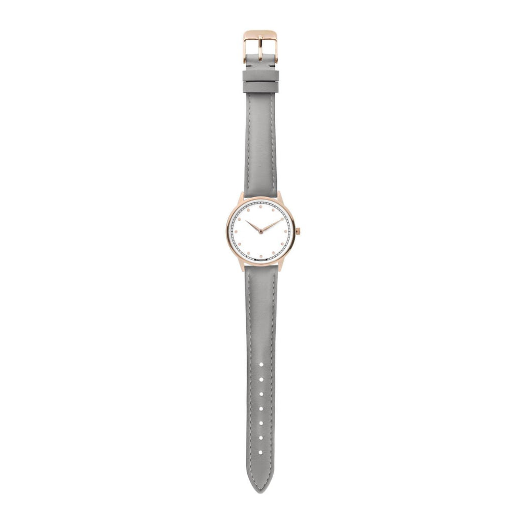 Signature Petite Watch - Rose Gold White w/ Grey Classic Leather