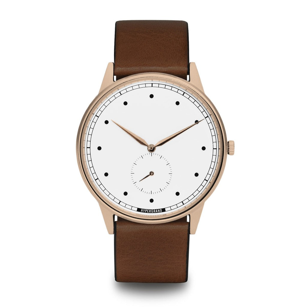 Signature Watch - Rose Gold White w/ Brown Classic Leather