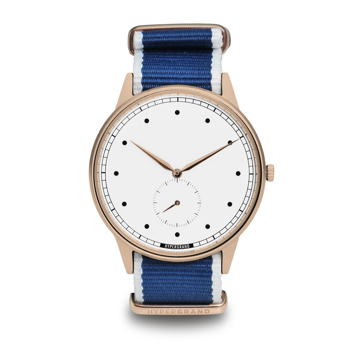 Signature Watch - Rose Gold White w/ Straight Jacquard Blue Nato