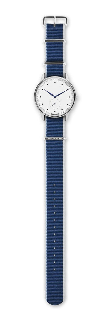 Signature Watch - Silver White w/ Straight Jacquard Blue Nato