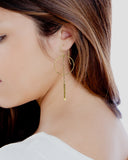 Gold Hematite Hoop Earrings
