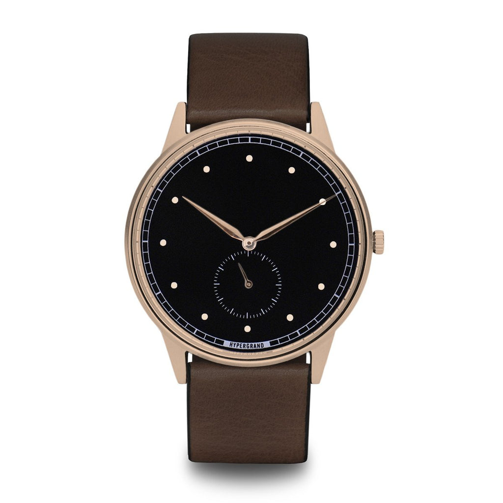 Signature Watch - Rose Gold Black w/ Brown Classic Leather