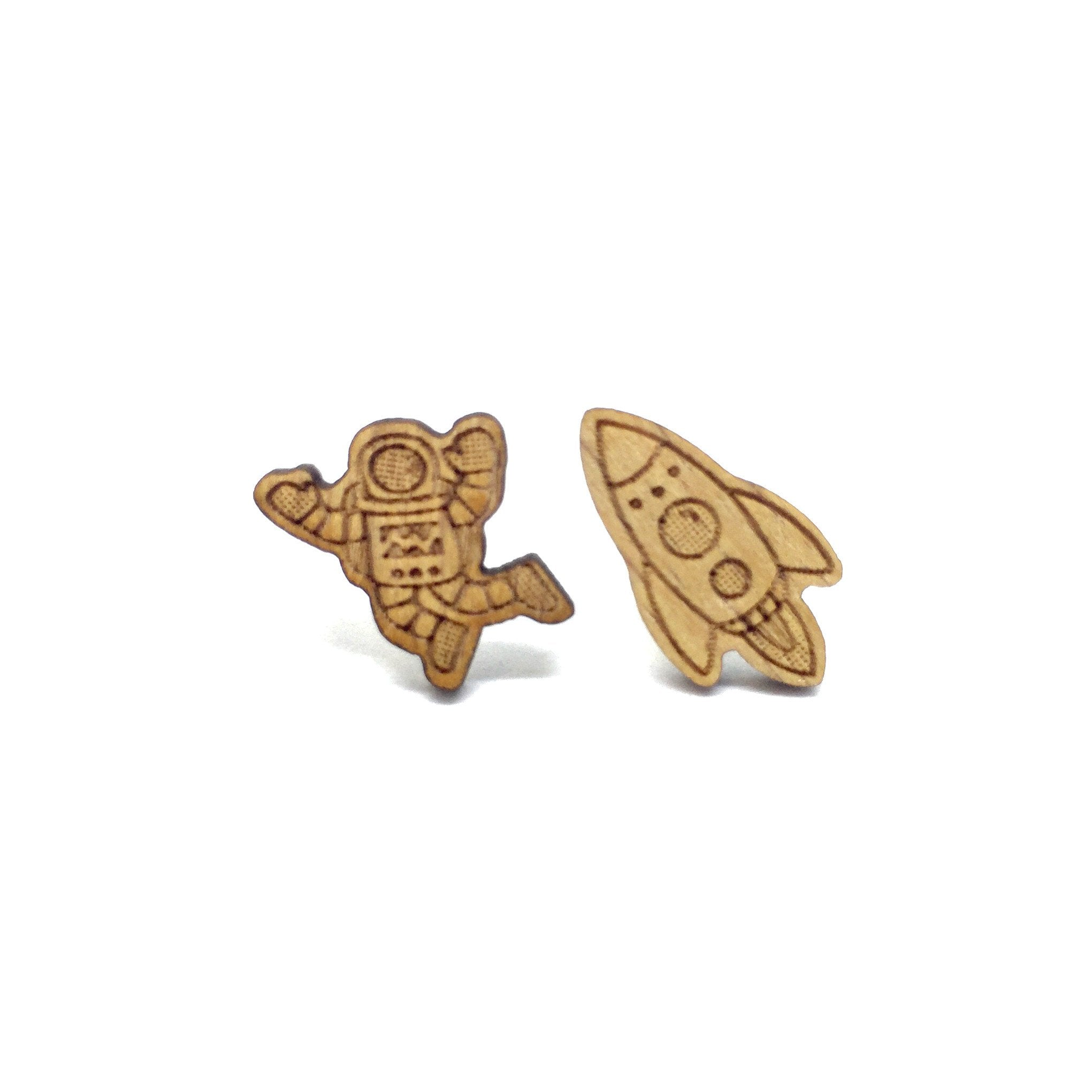 Spaceman Rocket Laser Cut Wood Earrings