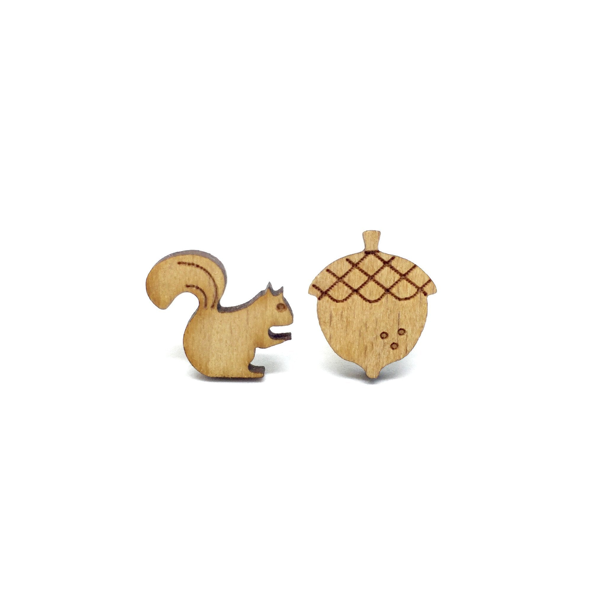 Squirrel Pine Nut Laser Cut Wood Earrings