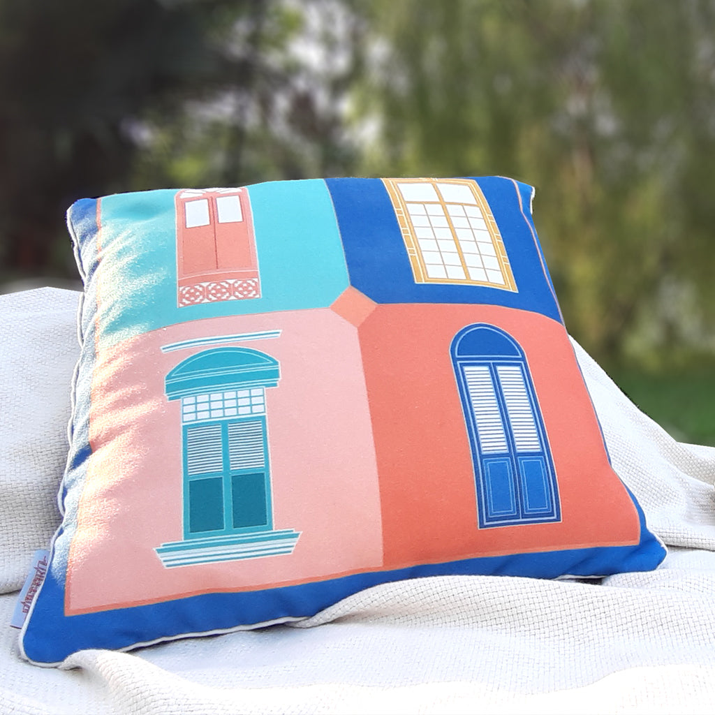 Cushion Cover Tingkap - Blue & Red