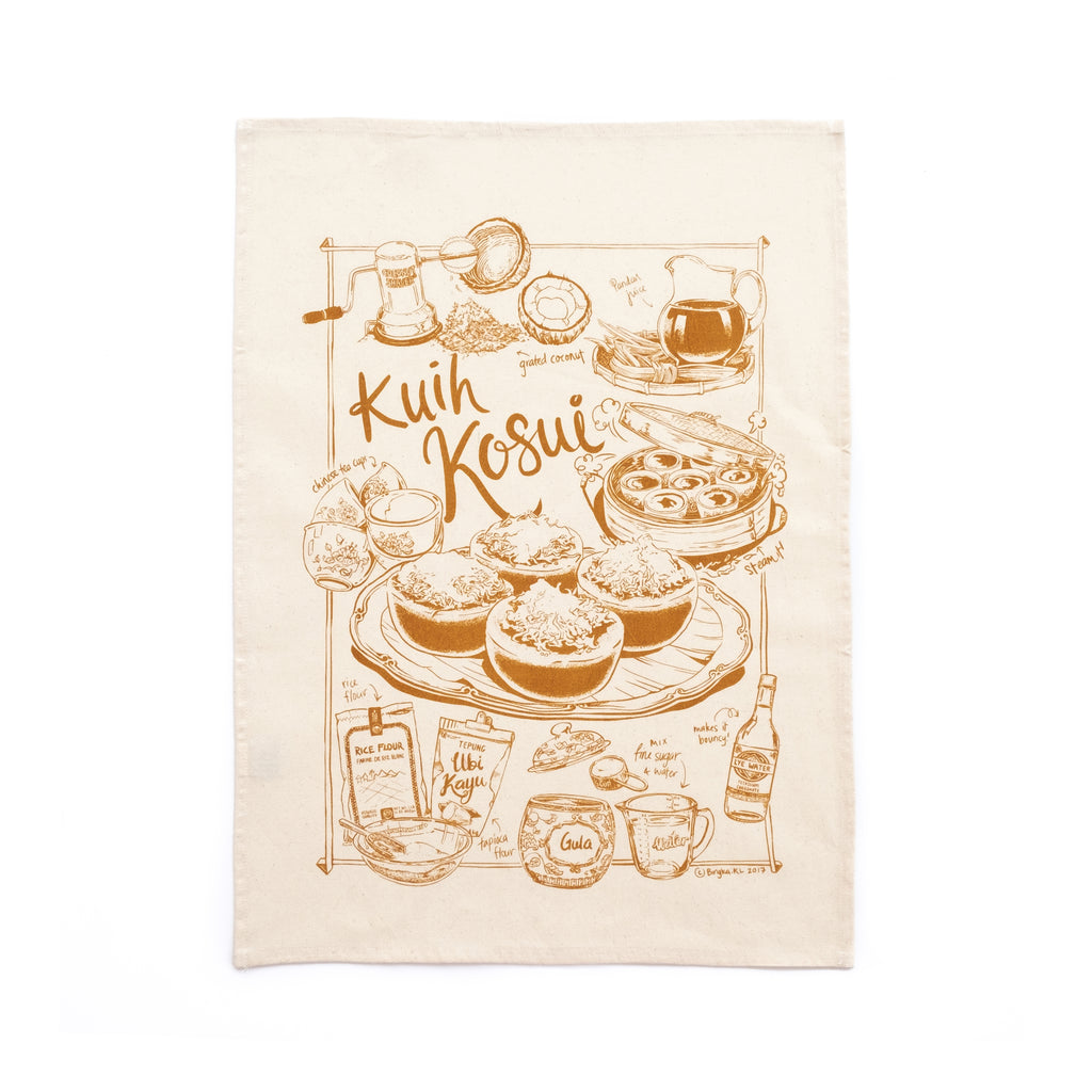 Kuih Kosui Tea Towel - Brown