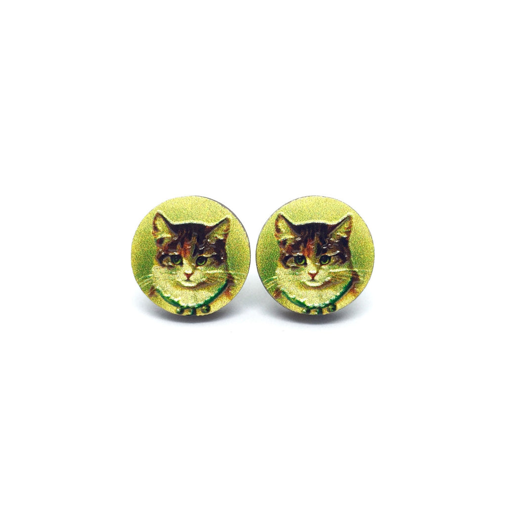 Vintage Home Cat Wooden Earrings