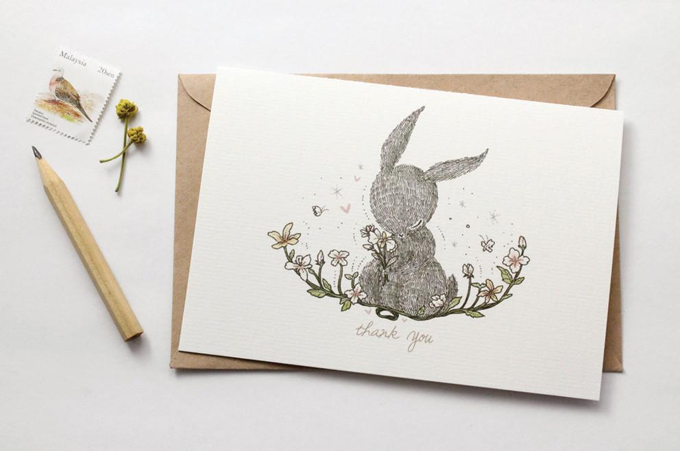 WW-GC#3 - Thank You, Rabbit Greeting Card