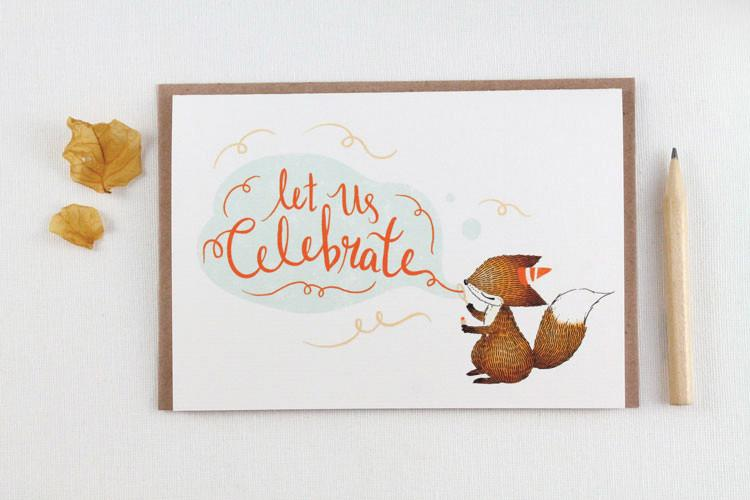 WW-GC#16 - Let us Celebrate, Fox Greeting Card