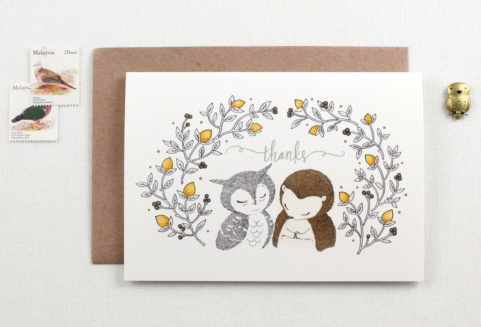 WW-GC#20 - Thanks, Owl & Hedgehog Greeting Card