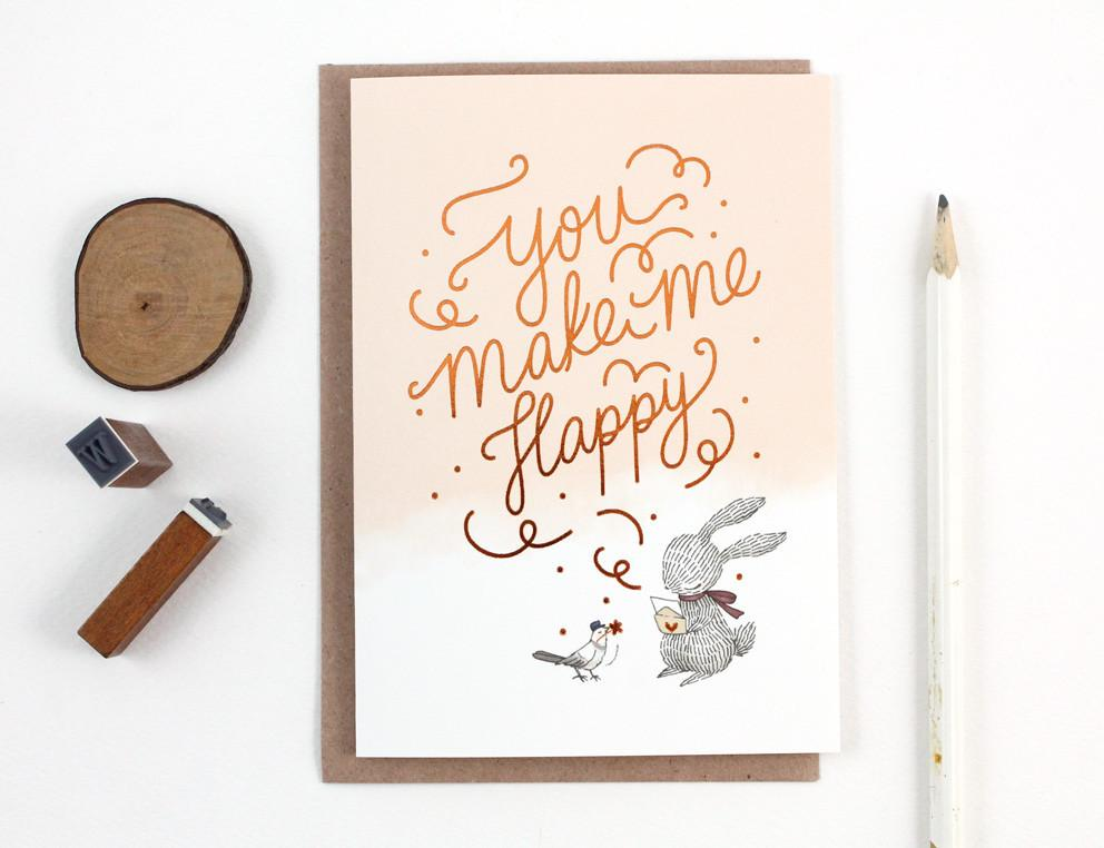 WW-GC#25 - You Make Me Happy, Rabbit, Copper Foil Greeting Card