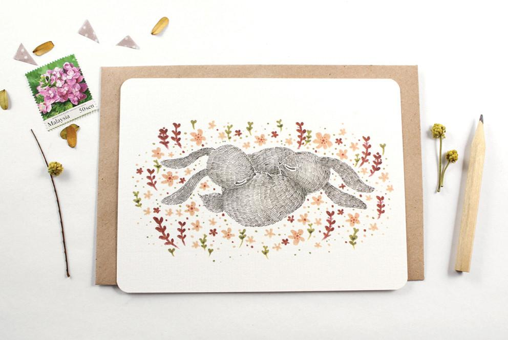 WW-NC#1 - Spring Nap, Rabbit Note Card