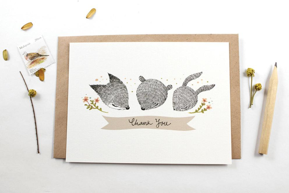 WW-NC#12 - Thank You, Whimsical Fox, Bear & Rabbit Note Card