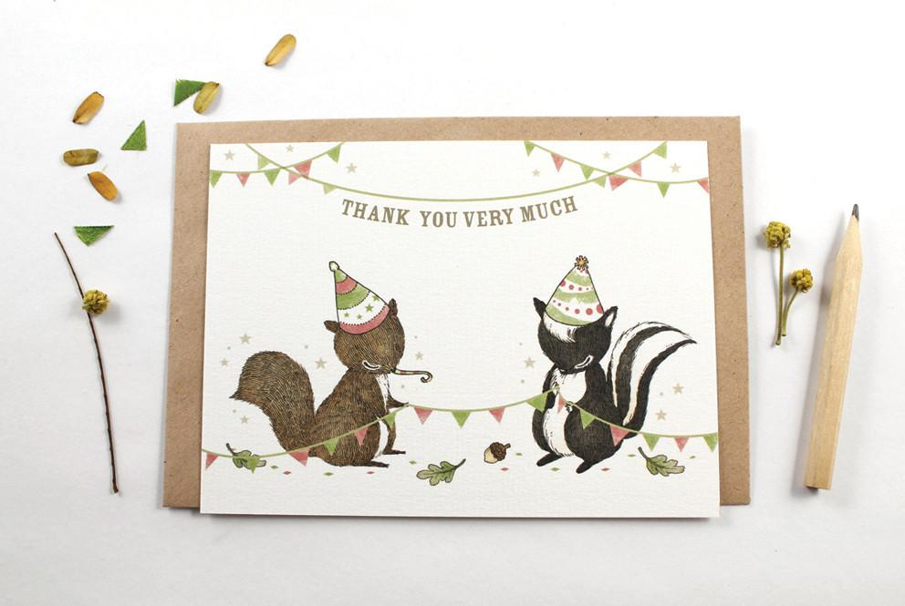 WW-NC#15 - Thank You - Squirrel & Skunk Note Card