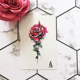 Marker Style Abstract Rose Temporary Tattoo