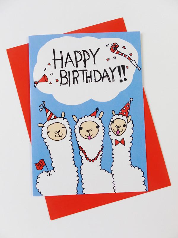 Alpacas - Happy Birthday Card