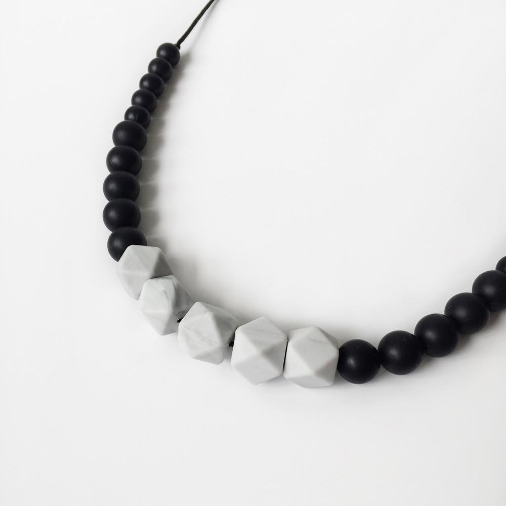 Marble Silicone Necklace - Black Marble