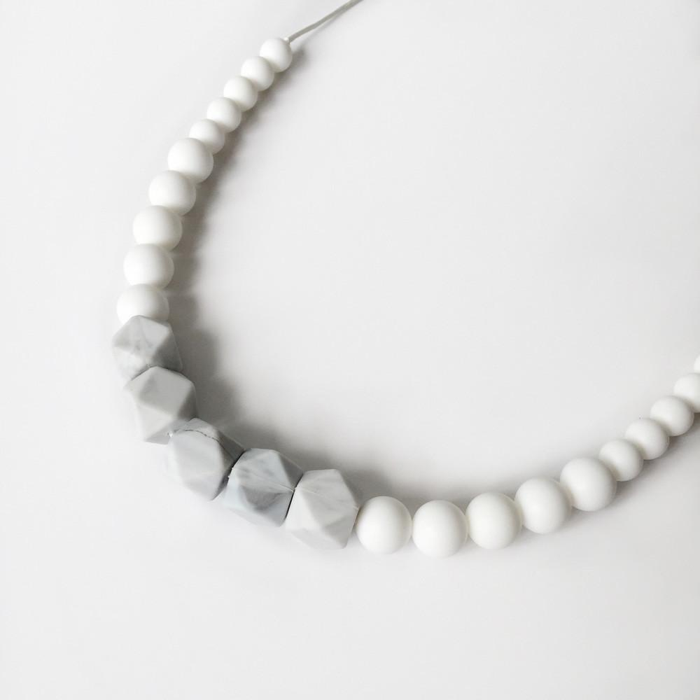 Marble Silicone Necklace - White Marble