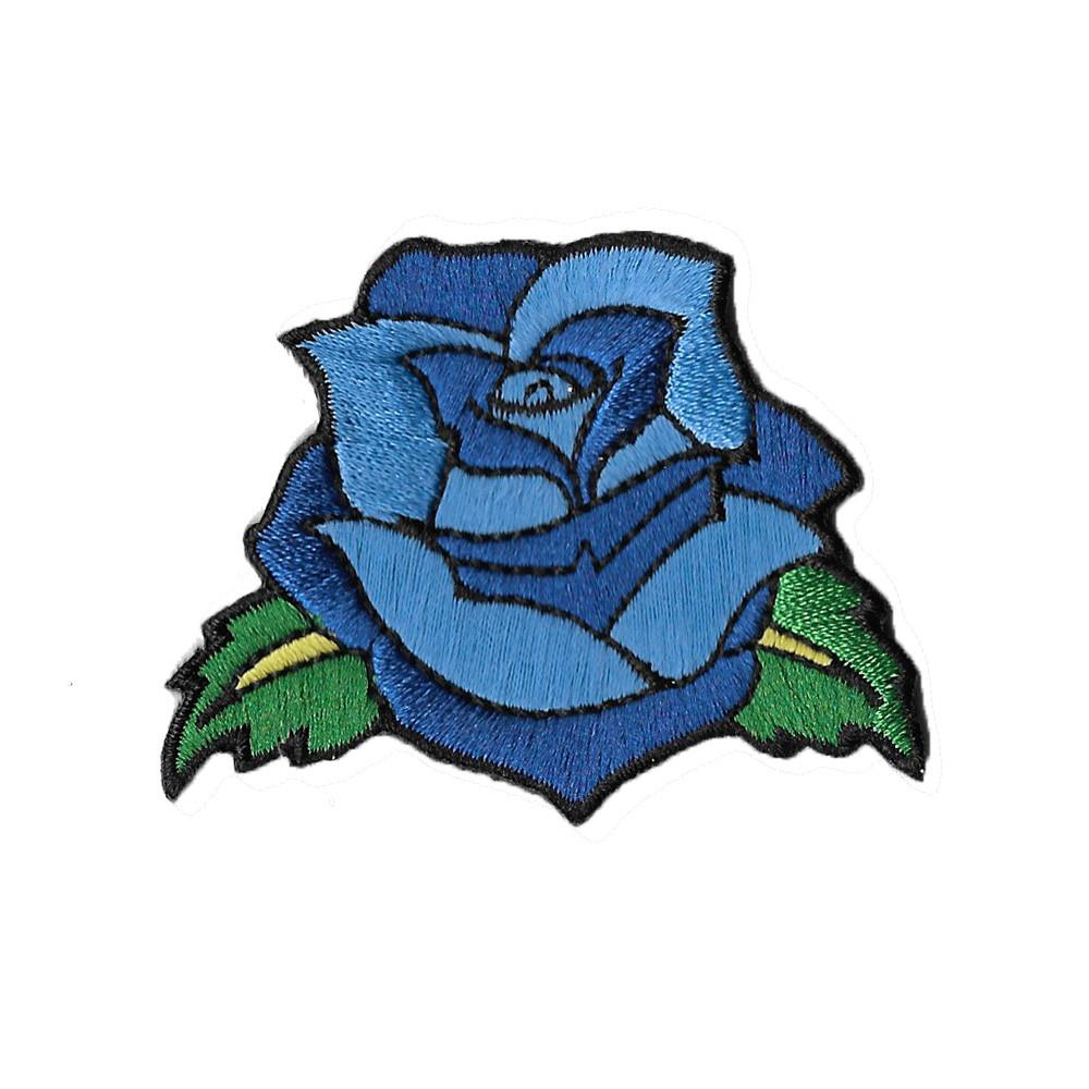 Blue rose tattoo sticker patch