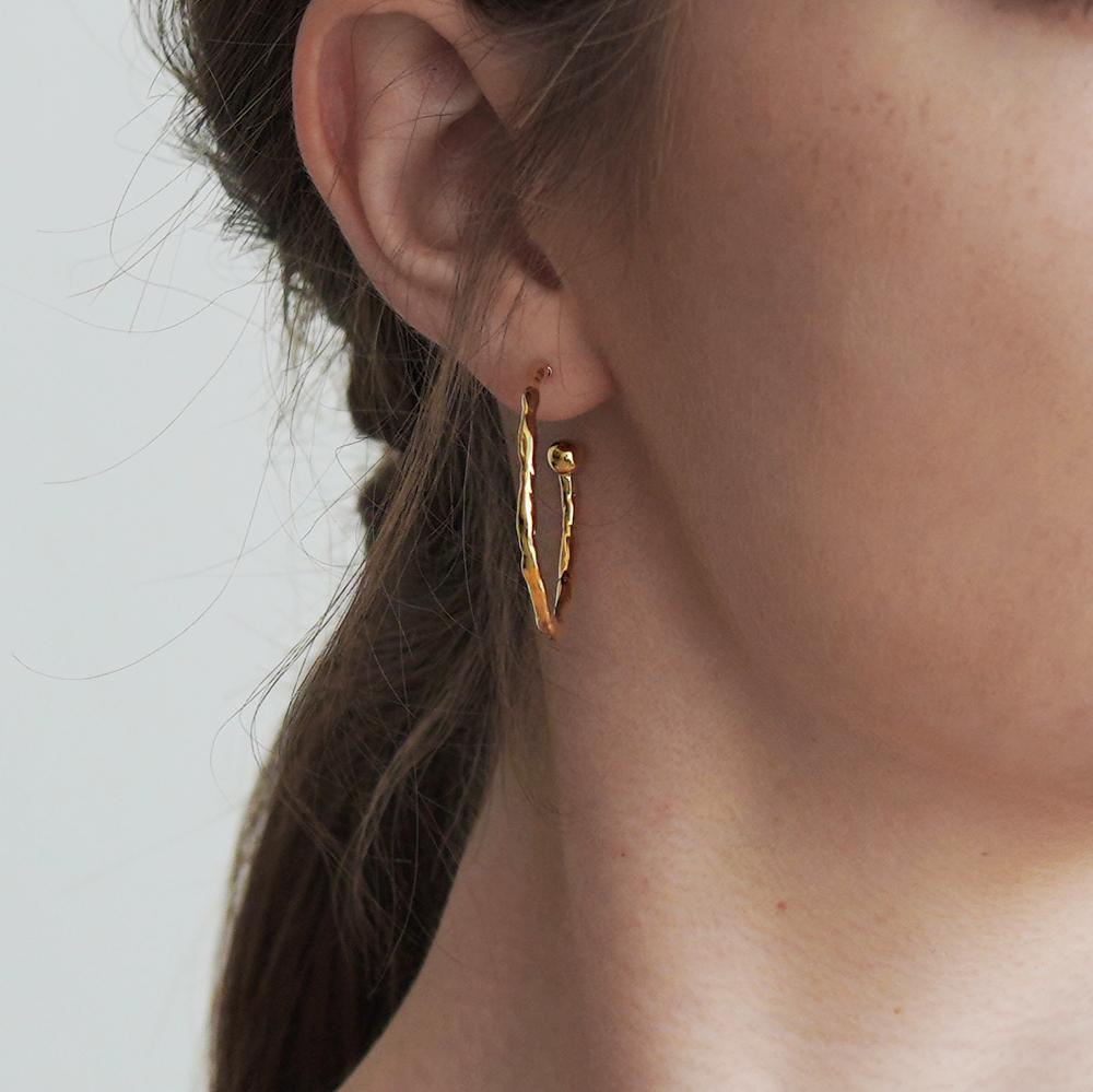Gabi Hoop Medium Gold Earrings
