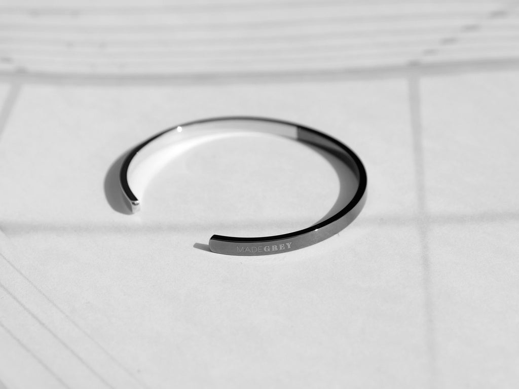 Two-Tone Minimal Cuff Bracelet In Polished Silver