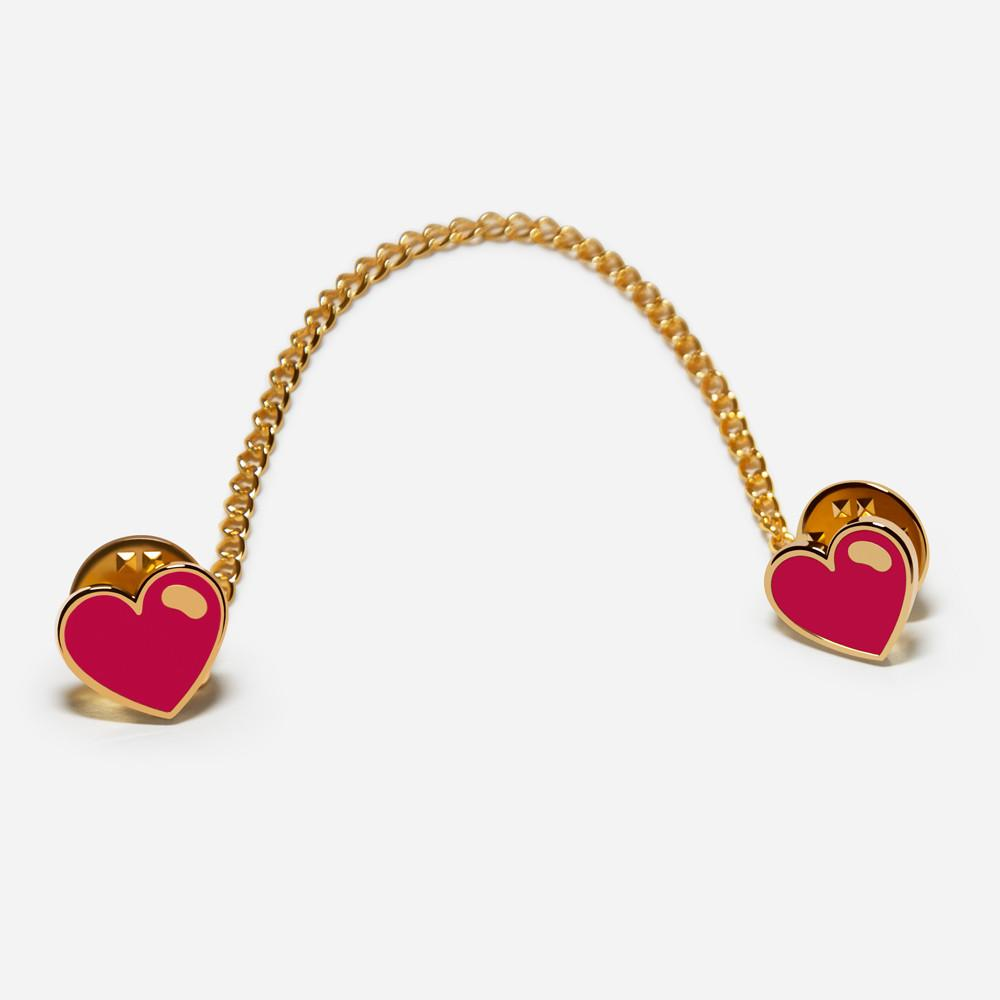 3-way Red Heart Collar Pin