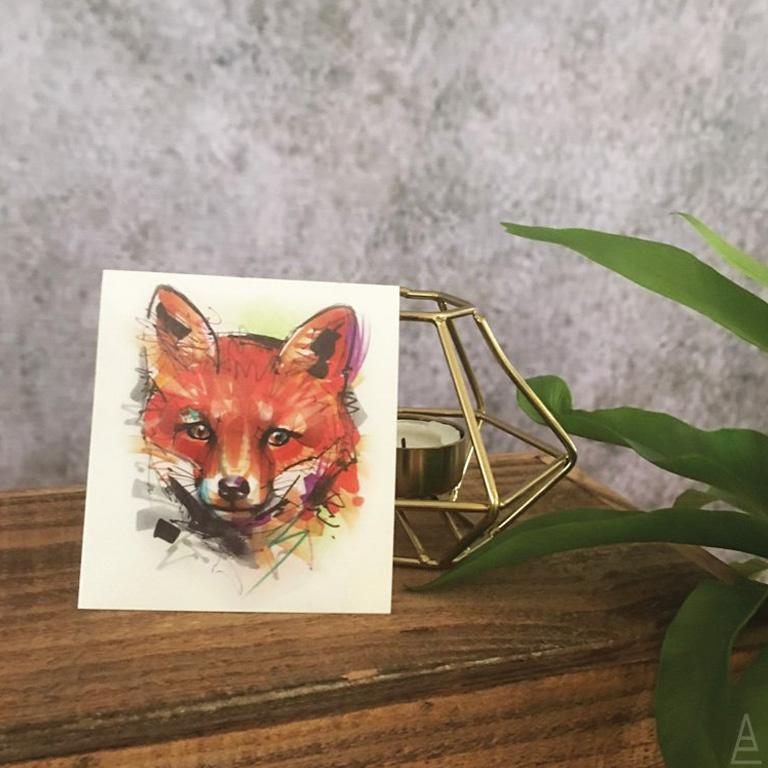 Marker Style Baby Fox Temporary Tattoo