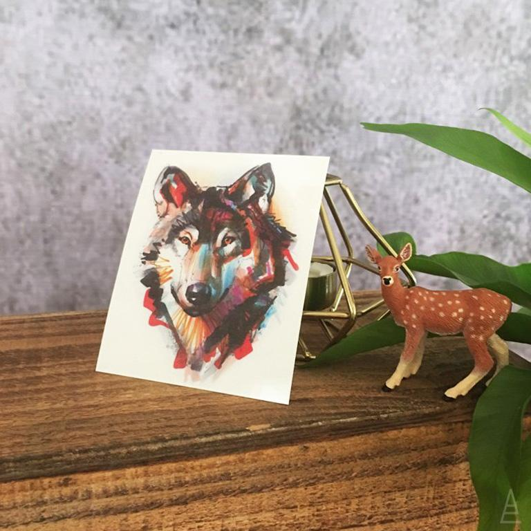 Marker Style Wolf Temporary Tattoo