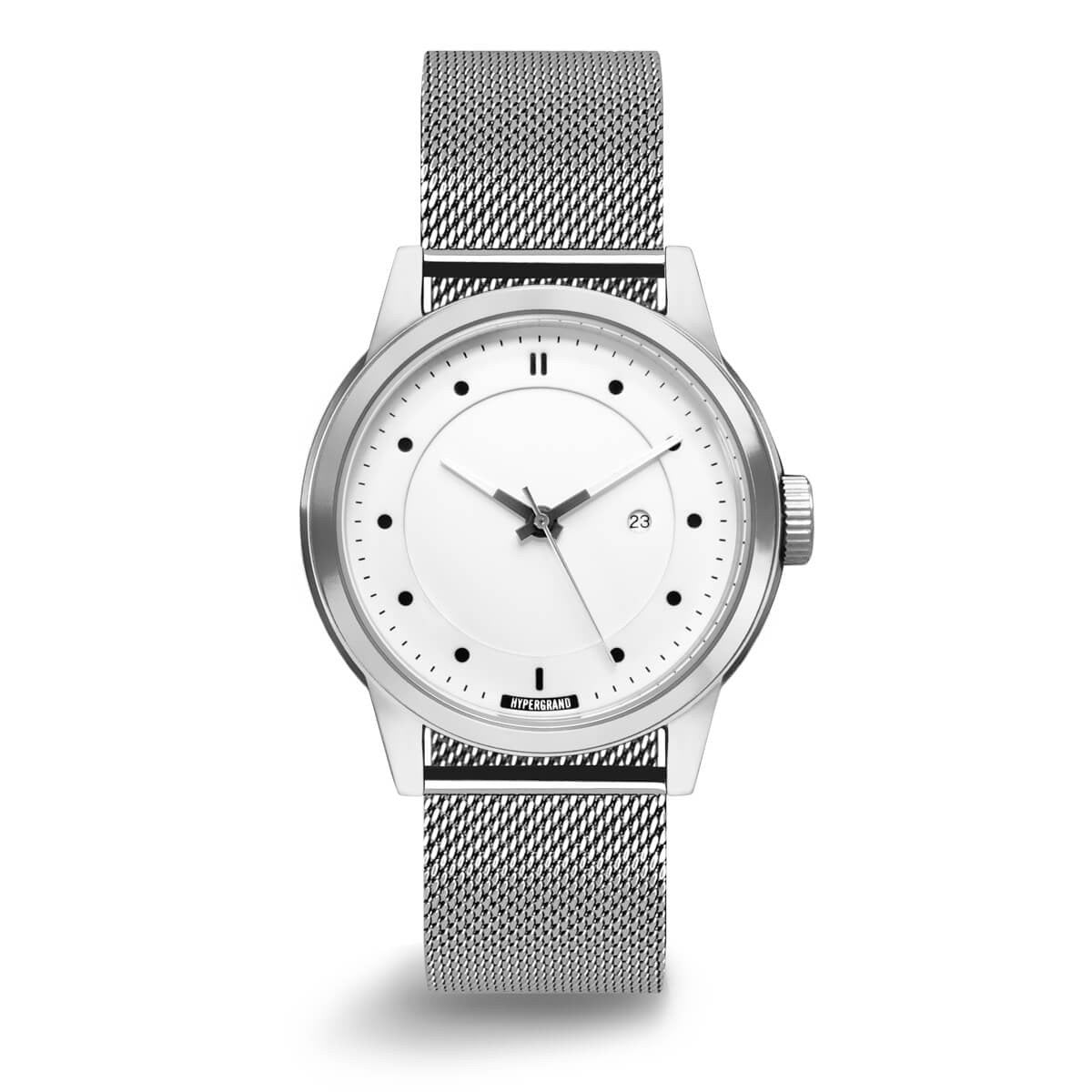 Maverick 44 Watch - Silver White w/ Silver Mesh Band