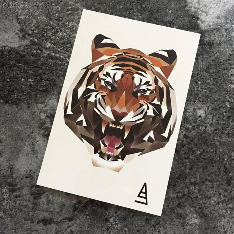 Polygon Tiger Temporary Tattoo