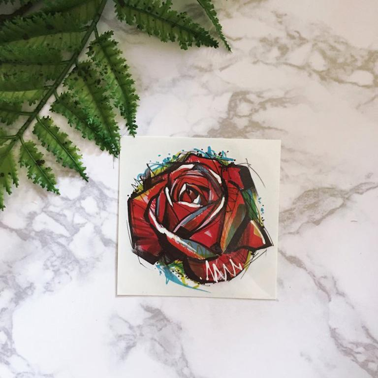 Marker Style Red Rose Temporary Tattoo