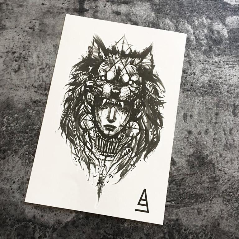 Marker Style Tribe Wolf Girl Temporary Tattoo