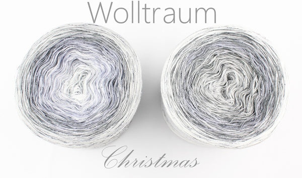 Wolltraum Christmas - Frozen / Grey Glitter - 4 Ply. Price $46.00