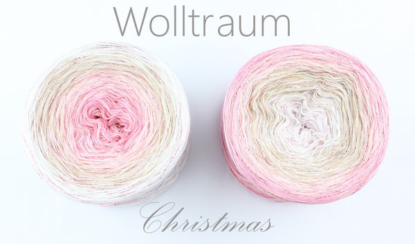 Wolltraum Christmas - Let It Snow / Rose Glitter - 4 Ply. Price $46.00