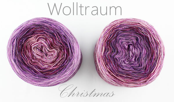 Wolltraum Christmas - Santa Tell Me / Purple Glitter - 4 Ply. Price $46.00