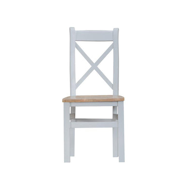 Toronto Cross Back Chair Wooden Seat -Grey