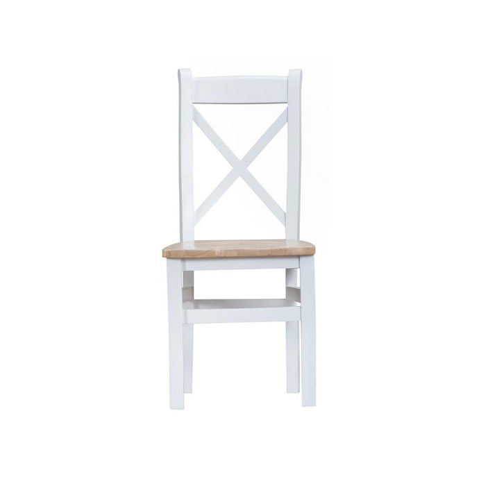 Toronto Cross Back Chair Wooden Seat - White