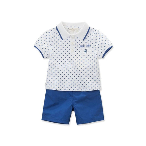 summer baby boys blue printed clothing set