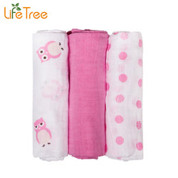 3Pcs Set 70*70cm Muslin Cloth Cotton Newborn Baby Swaddles Baby Blankets Double Layer Gauze Bath Towel Cute Animal Hold Wraps