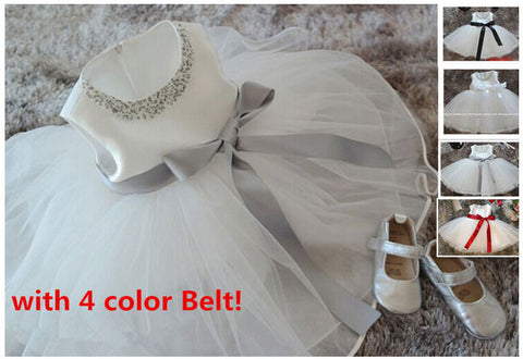 White chiffon christening gowns