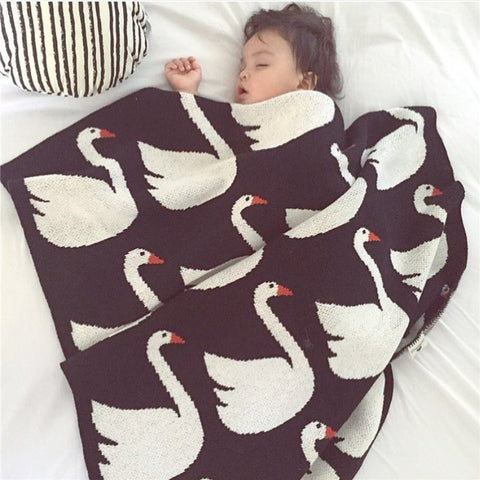 knitted White Swan Baby Blanket Baby