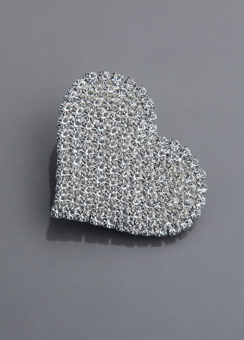 Broche aimantee crystal bijoux 05-0403 Plaque argent - taille moyenne