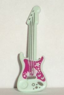 Minifigure, Utensil: 11640pb01 Light Aqua Guitar Electric with Magenta Pickguard and Silver Strings, Stars, Bridge and Output Jack Pattern. 2013-15. Preowned.