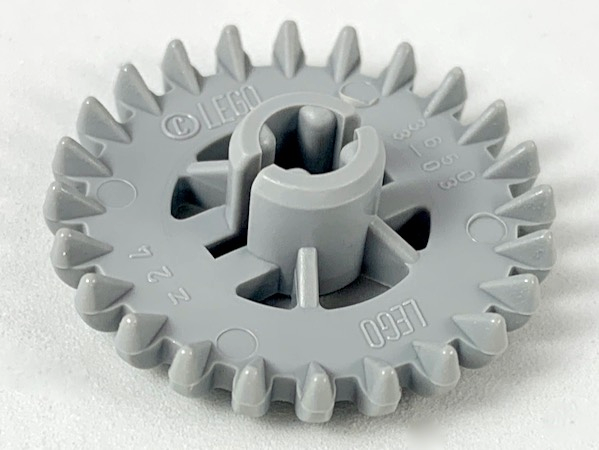 LEGO 3650b Technic, Gear 24 Tooth Crown (2nd Version - Reinforced), Lt bluish gray. Package of 2. New.