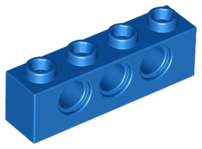 LEGO 3701 Technic Brick 1 x 4 with holes, blue. Package of 6. New.