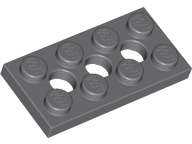 LEGO 3709b Technic Plate, 2 x 4 with 3 holes, dk bluish gray. Package of 4. New.