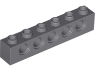 LEGO 3894 Technic Brick 1 x 6 with holes, dark bluish gray. Package of 6. New.